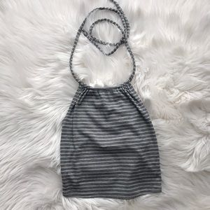 BDG Gray and Black Striped Halter Crop Top